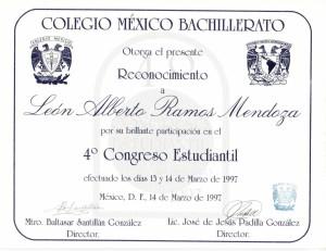 1997 Ponente 4° Congreso Estudiantil