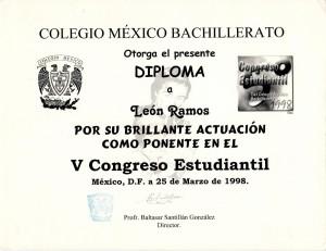 1998 Ponente V Congreso Estudiantil