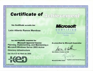 2005 Capacitación: Planning, implementing and maintaining a Microsoft Windows Server 2003 Active Directory Infrastructure