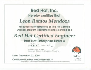 "2006 Certificación: ""Red Hat Certified Engineer"""