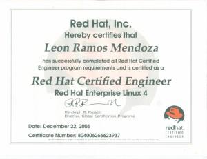 """2006 Certificación: """"Red Hat Certified Engineer"""""""