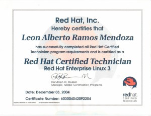 "2004 Certificación: ""Red Hat Certified Technician"""